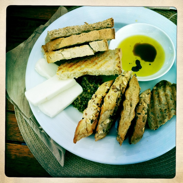 Toast with goat cheese and olive paste